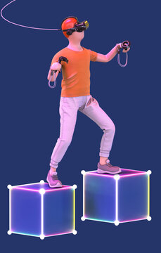 3d personage playing VR game whith headset and joystick. Man in virtual reality glasses isolated on blue background. Technologies of the future.
