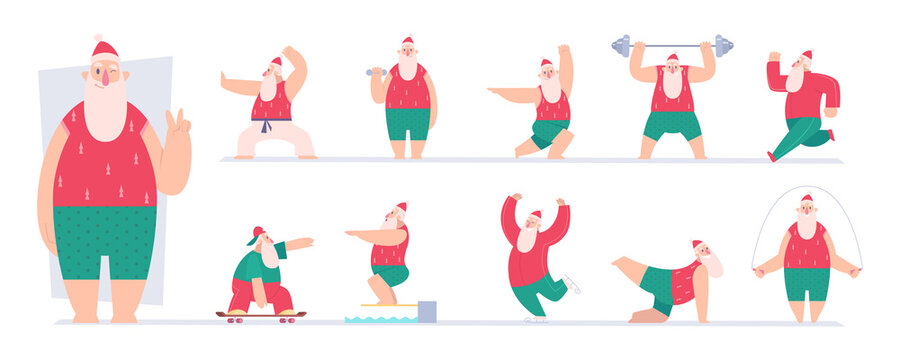 Active santa. Sport fairytale characters santa making exercises gym workout fitness in winter vector pictures. Winter activity santa, active fitness workout illustration