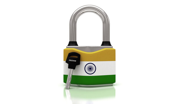 Conceptual representation of national lockdown due to covid-19, closed padlock with keys to freedom, India, 3d illustration, 3d rendering