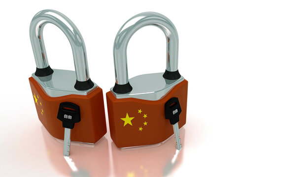 Conceptual representation of national lockdown due to covid-19, closed padlock with keys to freedom, China, 3d illustration, 3d rendering
