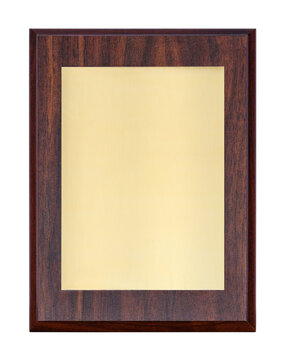 Golden plaque or name board (diploma) in wooden frame, isolated on a white background