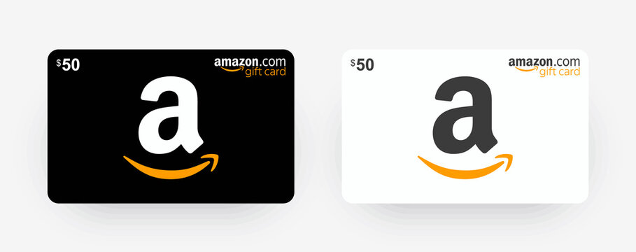 Gift card Amazon. Black and White Amazon gift card with shadow isolated on light background. Vector illustration EPS10