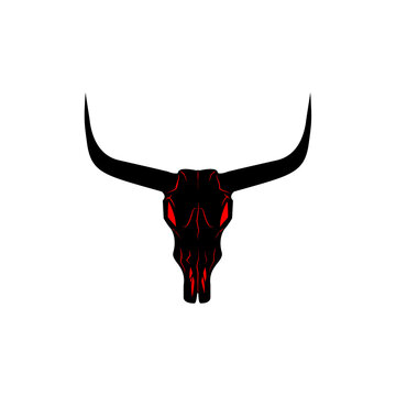 Bull skull icon. Buffalo head with red eyes vector illustration isolated on white. Animal skull with horns. Texas animal head symbol. Dangerous sign.
