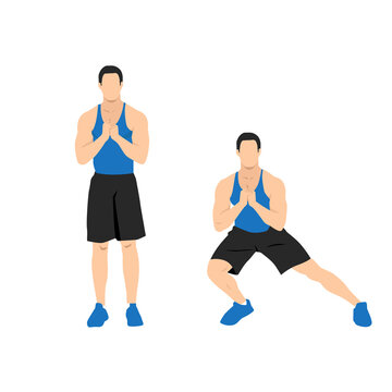 Illustrated exercise guide by healthy man doing Side Lunges Workout in 2 steps. for firming buttocks and legs.