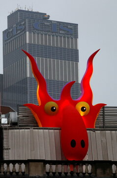 A giant inflatable monster, one of a collection of monsters that have appeared to mark Halloween is seen on the roof of an office block in Manchester