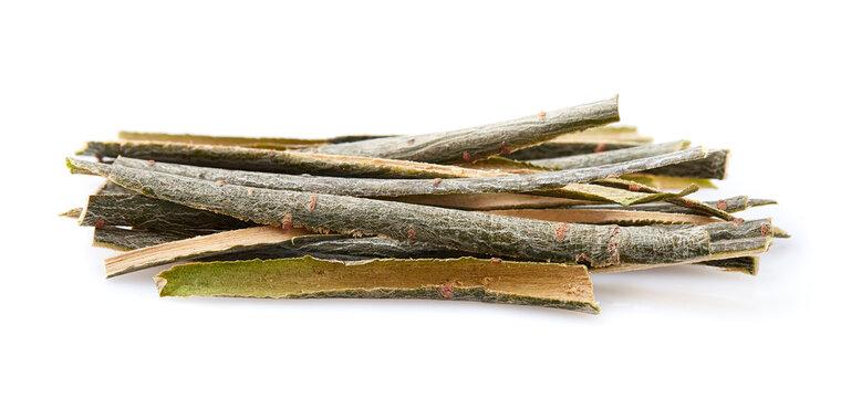 Willow bark on white background