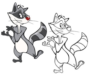 Vector Illustration of a Cute Cartoon Character Raccoon  for you Design and Computer Game. Coloring Book Outline Set