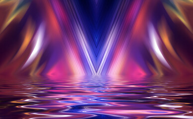 Abstract dark futuristic background. Ultraviolet neon light rays are reflected off the water. Background of empty stage show, beach party. 3d illustration Fotomurales