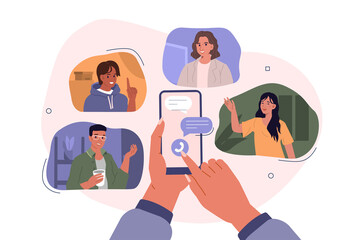 Photo sur Plexiglas Dinosaurs Hands Holding Smartphones with Video Chat on Screen. Boys and Girls Chatting and Communicating Together in Social Media. Female and Male Characters Talking Online. Flat Cartoon Vector Illustration.