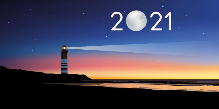 Carte de voeux 2021 avec le concept du phare symbolisant le point de repère permettant de suivre la bonne direction pour relever les défis et les couronner de succès.