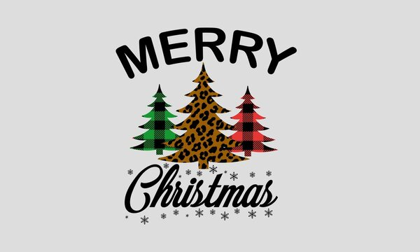 Merry Christmas - Leopard Print and Buffalo Plaid Christmas Tree Art & Illustration