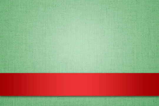 Green textile background texture with red ribbon design mockup template for Christmas card.