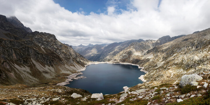 Panorama with Lac d'Artouste lake in National Park of Pyrenees, France