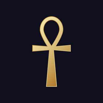 Egyptian cross ankh. Hieroglyphic symbol golden color of mystical mysteries pharaohs sign eternal well being.