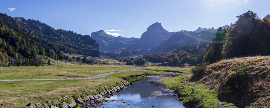 Pyrenees mountains with small river in Ossau valley, Pyrenees National Park, France