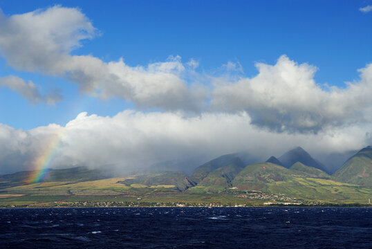 West Maui from the Pailolo channel with a Rainbow
