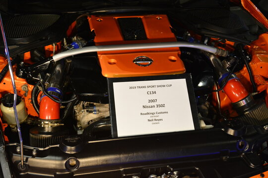 Nissan 350z motor engine at 25th Trans Sport Show in Pasay, Philippines