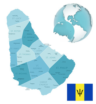 Barbados administrative blue-green map with country flag and location on a globe.