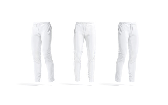 Blank white sport pants mockup, front and side view