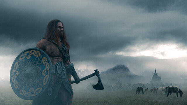 Viking warrior holding an ax with a shield  on a foggy landscape with ancient village and horses in northern panorama - concept art - 3D Rendering