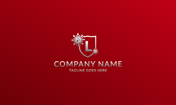 letter L anti viral shield logo template for company product or volunteer