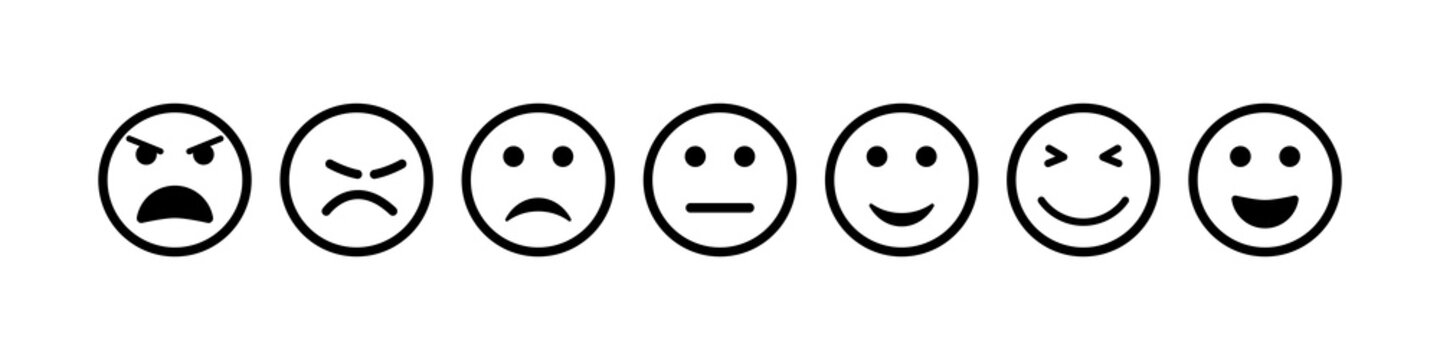 Face icon. Smile and sad emoji. Happy and bad smiley for feedback. Outline emoticon of sentiment, satisfaction. Survey for customers. Unhappy, normal, positive, angry, dislike feeling. Vector