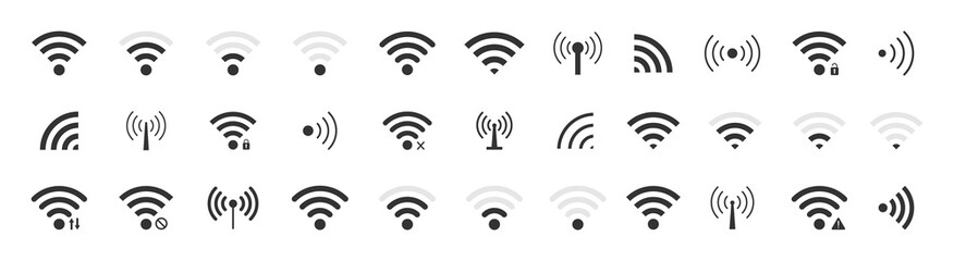 Fototapeta Icon wifi signal. Wireless internet symbol. Set of sign for connect of network. Bar of satellites for mobile, radio, computer. Hotspot, strength electronic wave from antenna for communication. Vector obraz