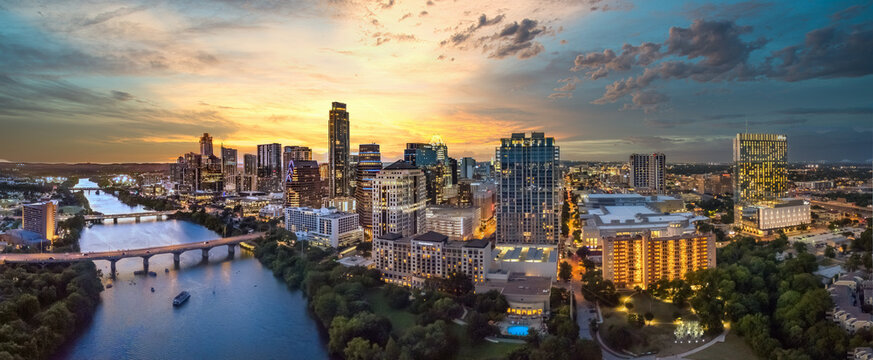 austin texas skyline during sunset