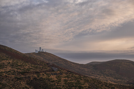 Izaña observatory at the top of the mountain in Tenerife.