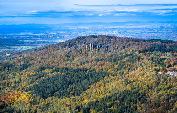 View of the Battert rocks and the  Rhine Valley near Baden Baden, Baden Wuerttemberg, Germany