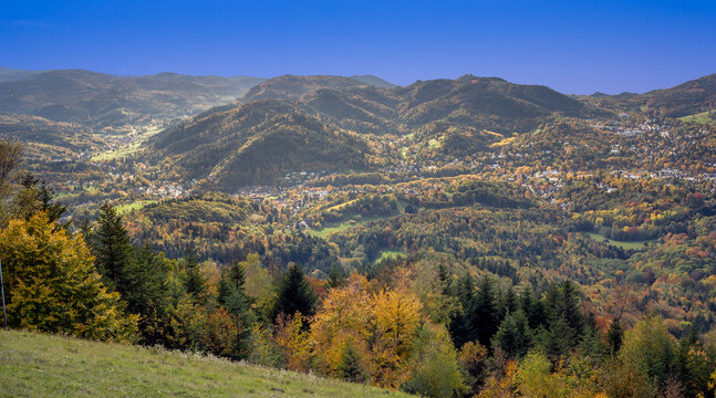 View from the Merkur mountain to the Black Forest near Baden Baden, Baden Wuerttemberg, Germany