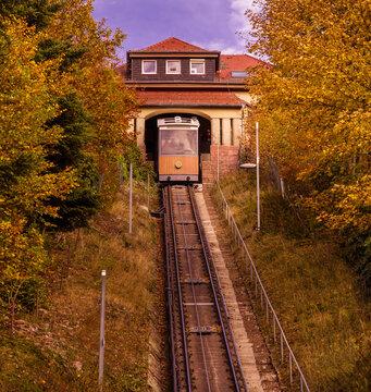 The Merkur cable railway near Baden Baden, Baden Wuerttemberg, Germany