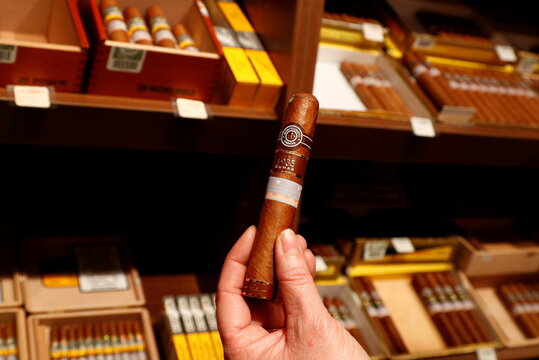 A Montecristo cigar is pictured in a tobacco store amid the coronavirus disease (COVID-19) outbreak in Brussels