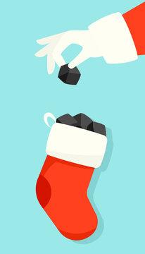 Santa puts lump of coal in christmas stocking illustration. Clipart image.