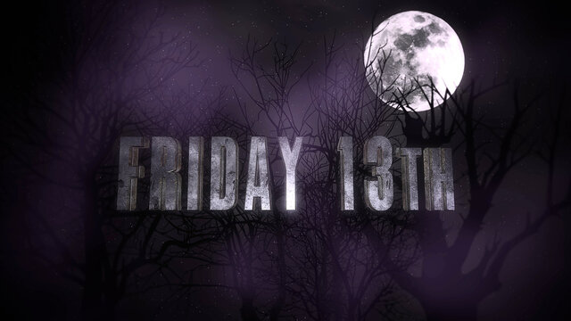 Text Friday 13th and mystical background with dark moon and clouds