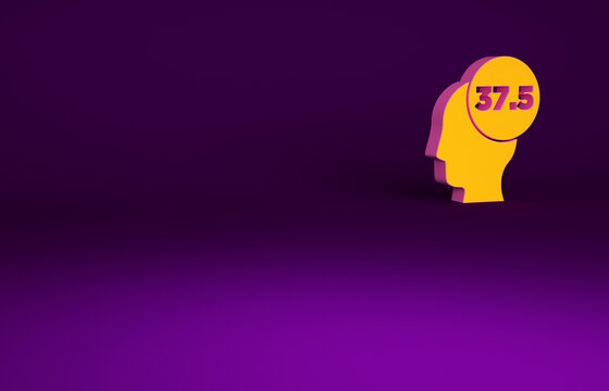 Orange High human body temperature or get fever icon isolated on purple background. Disease, cold, flu symptom. Minimalism concept. 3d illustration 3D render.