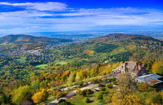 View of the Merkur restaurant and the Rhine Valley near Baden Baden, Baden Wuerttemberg, Germany