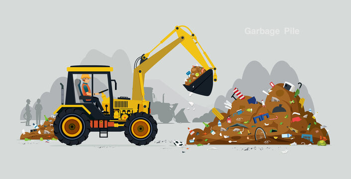 Workers drive a excavator to handle the waste.