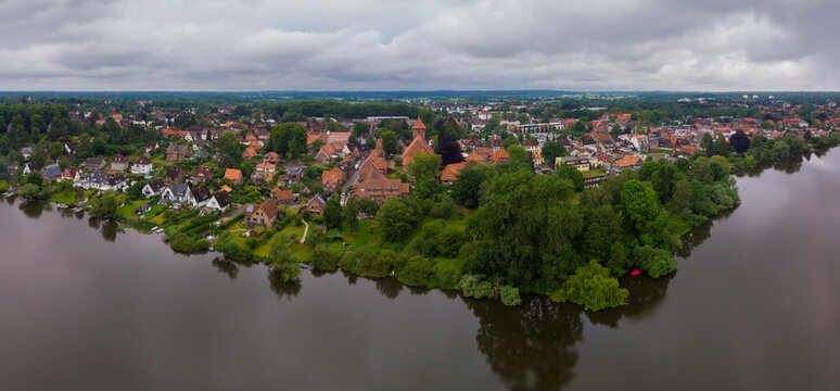 Gorgeous aerial view of the Preetz city from lake Kirchsee
