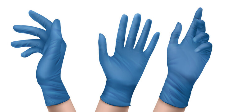Blue nitrile medical gloves on hands. Vector realistic set of latex or rubber sterile gloves for doctor, surgeon or nurse. Hospital and laboratory equipment for protection against virus and infection