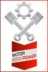 Wall Mural - Autowerkstatt Logo mit Motorkolben und Zahnrad