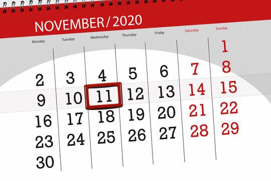 Calendar planner for the month november 2020, deadline day, 11, wednesday