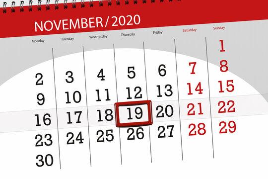 Calendar planner for the month november 2020, deadline day, 19, thursday
