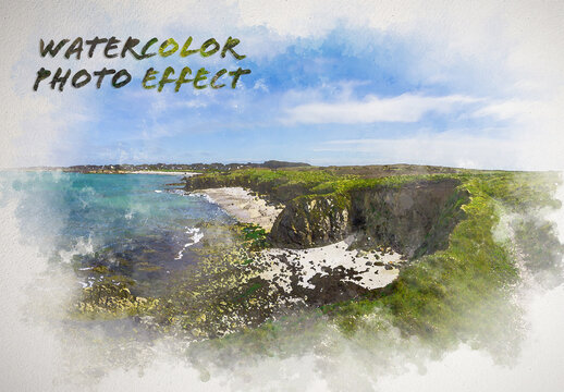 Watercolor Painting on Paper Texture Photo Effect Mockup