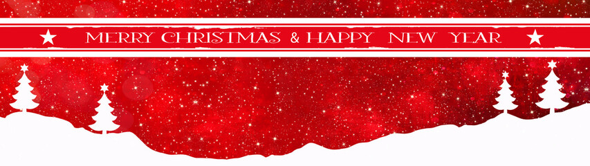 Merry Christmas & Happy new year background banner panorama / greeting card- Snow landscape with Christmas trees and snowflakes, isolated on red texture, with empty red banner, illustration