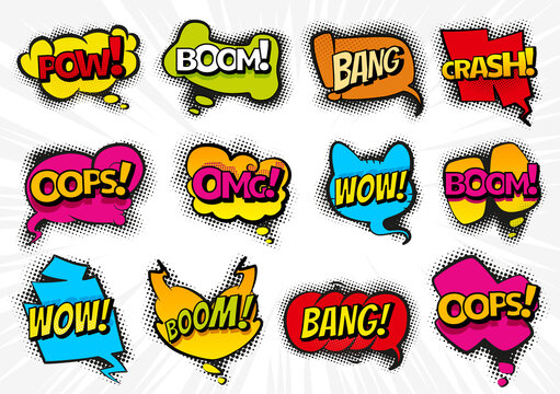 Comic speech bubbles set with text Wow, Omg, Boom, Bang. Vector cartoon illustrations isolated on white background. Comic collection colored sound chat text effects in pop art style
