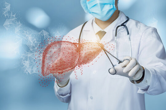 Concept of diagnosis and treatment of the patient liver.