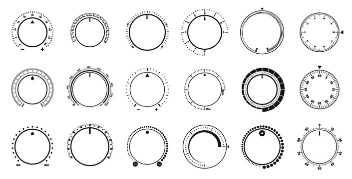 Adjustment dial. Volume level knob, rotary dials with round scale and round controller. Min and Max radial selector vector graphic set