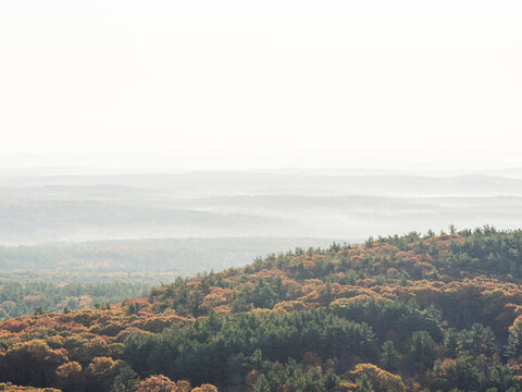 The view you get while walking down the Wachusett Summit Road on Mount Wachusett in Massachusetts on an autumn morning as the fog began to break up.