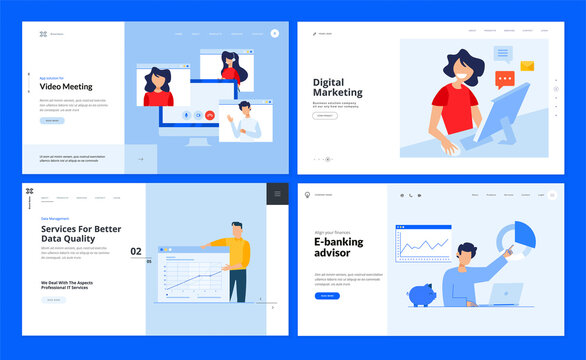 Set of website template designs of video meeting, digital marketing, data analysis, e-banking. Vector illustration concepts for website and mobile website development.
